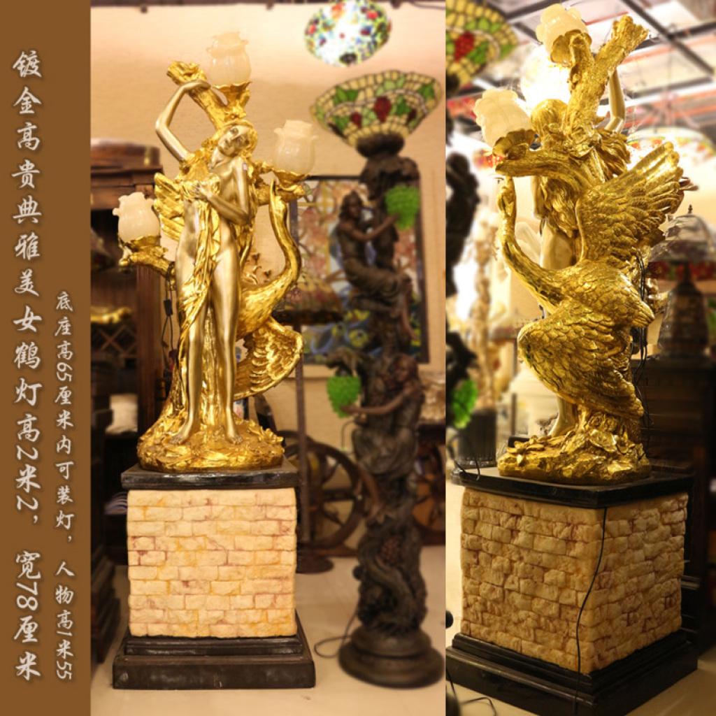 美女鹤灯大型欧式雕塑摆件艺术品别墅庭院酒店迎宾品