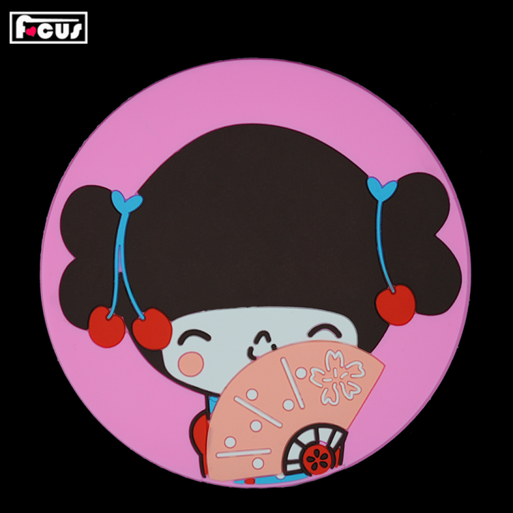 pvc软胶杯垫 3d滴胶环保卡通可爱娃娃隔热垫コースター