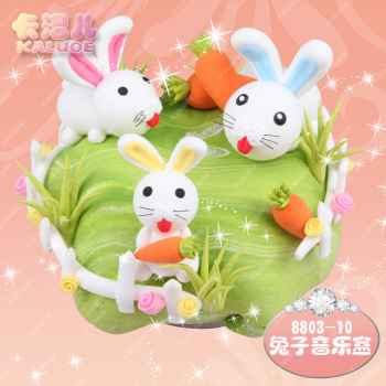 超轻粘土兔子音乐盒手工diy