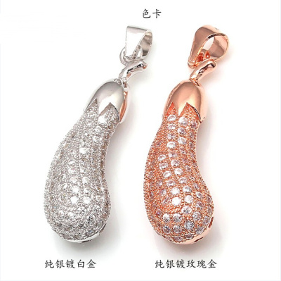 925 sterling silver accessories Sterling Silver Pendant inlaid CZ micro eggplant pendant accessories