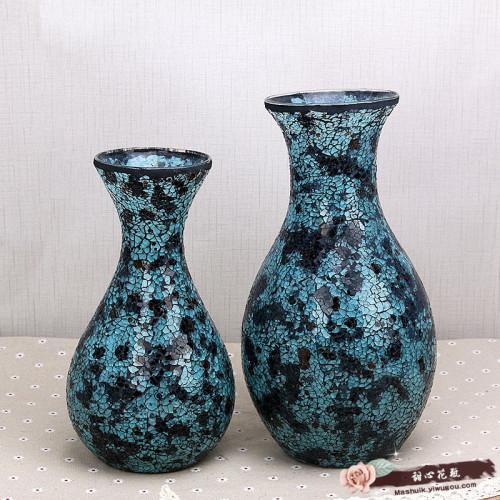 碎片玻璃工艺花瓶花器插花摆件 客厅欧式现代装饰品