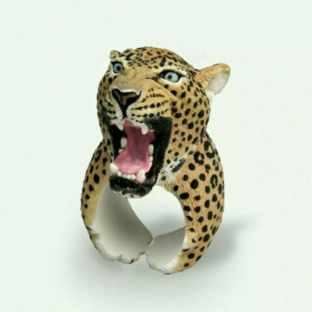 动物戒指 豹子头树脂时尚戒指