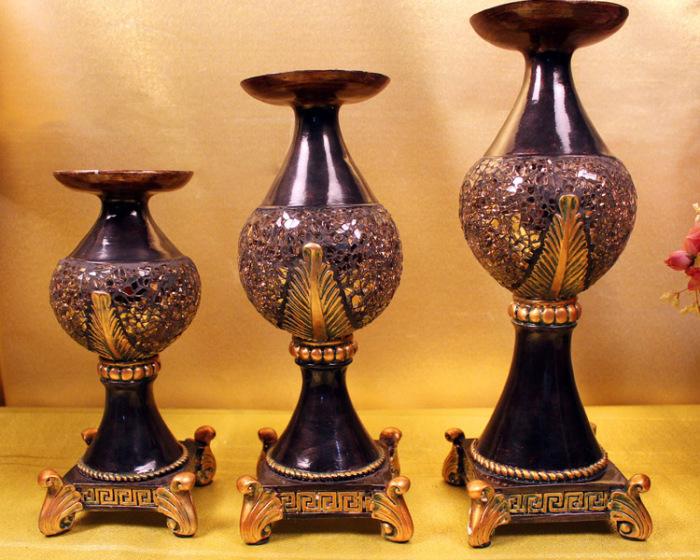 欧式树脂工艺品 创意家居装饰品摆件 烛台三件套