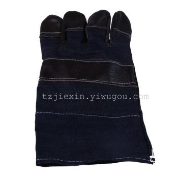 Wear non slip TIG welding protective insulation protective leather gloves over jeans