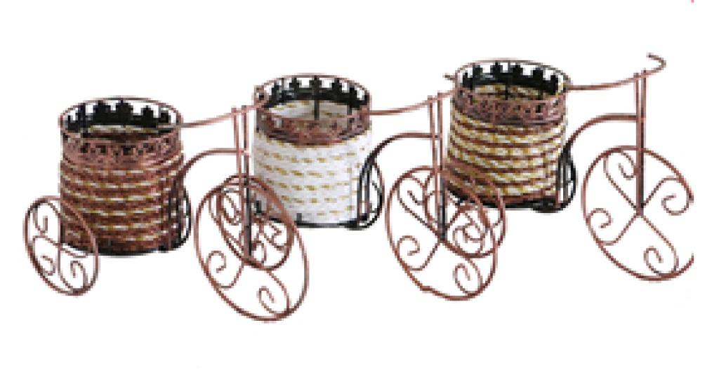 欧式花瓶 铁艺花篮三轮车桌面摆件
