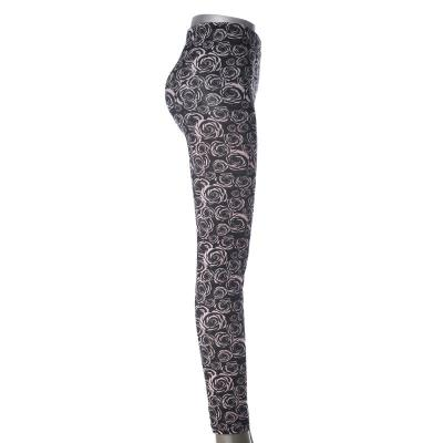 New black and white flowers ninth pants autumn casual pants women's long skinny pants