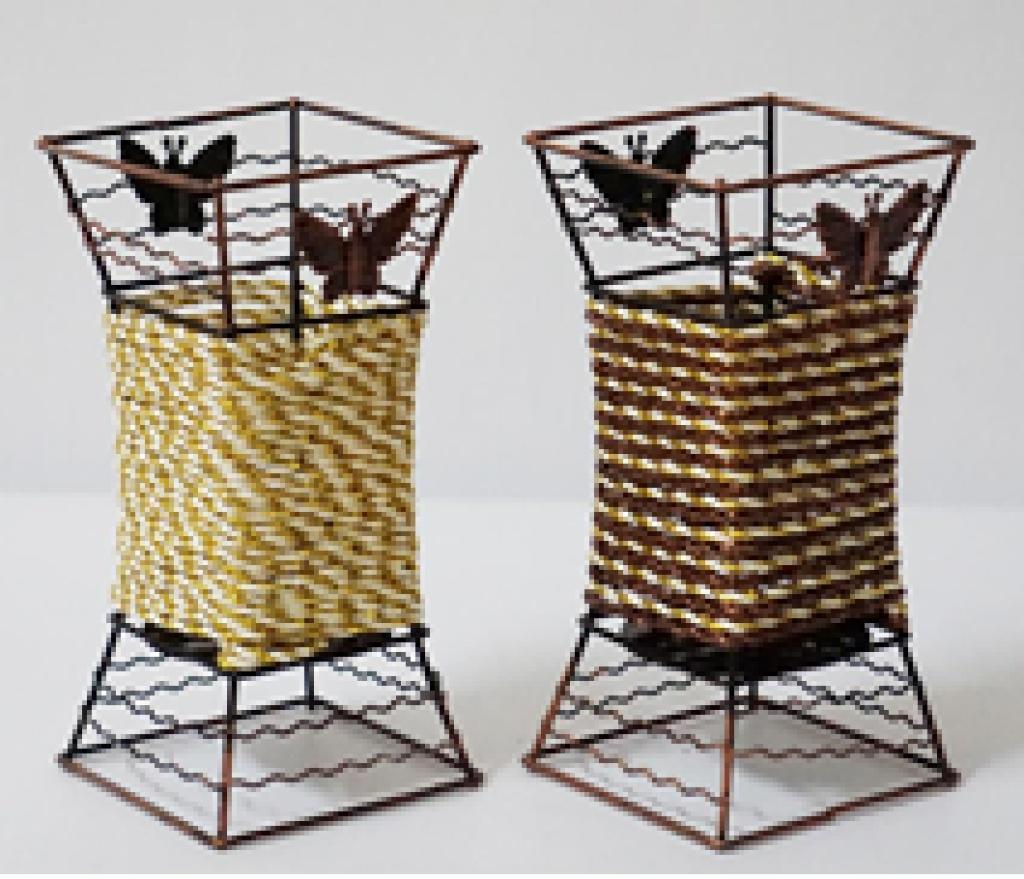 欧式铁艺编织花篮 桌面花瓶工艺摆件