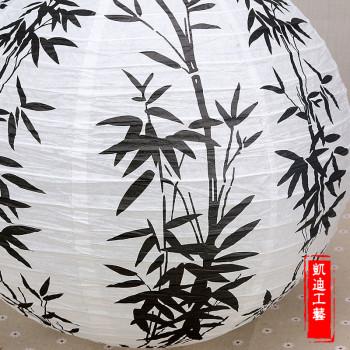 黑白竹叶纸灯笼吊灯罩家居中式茶楼书店装饰