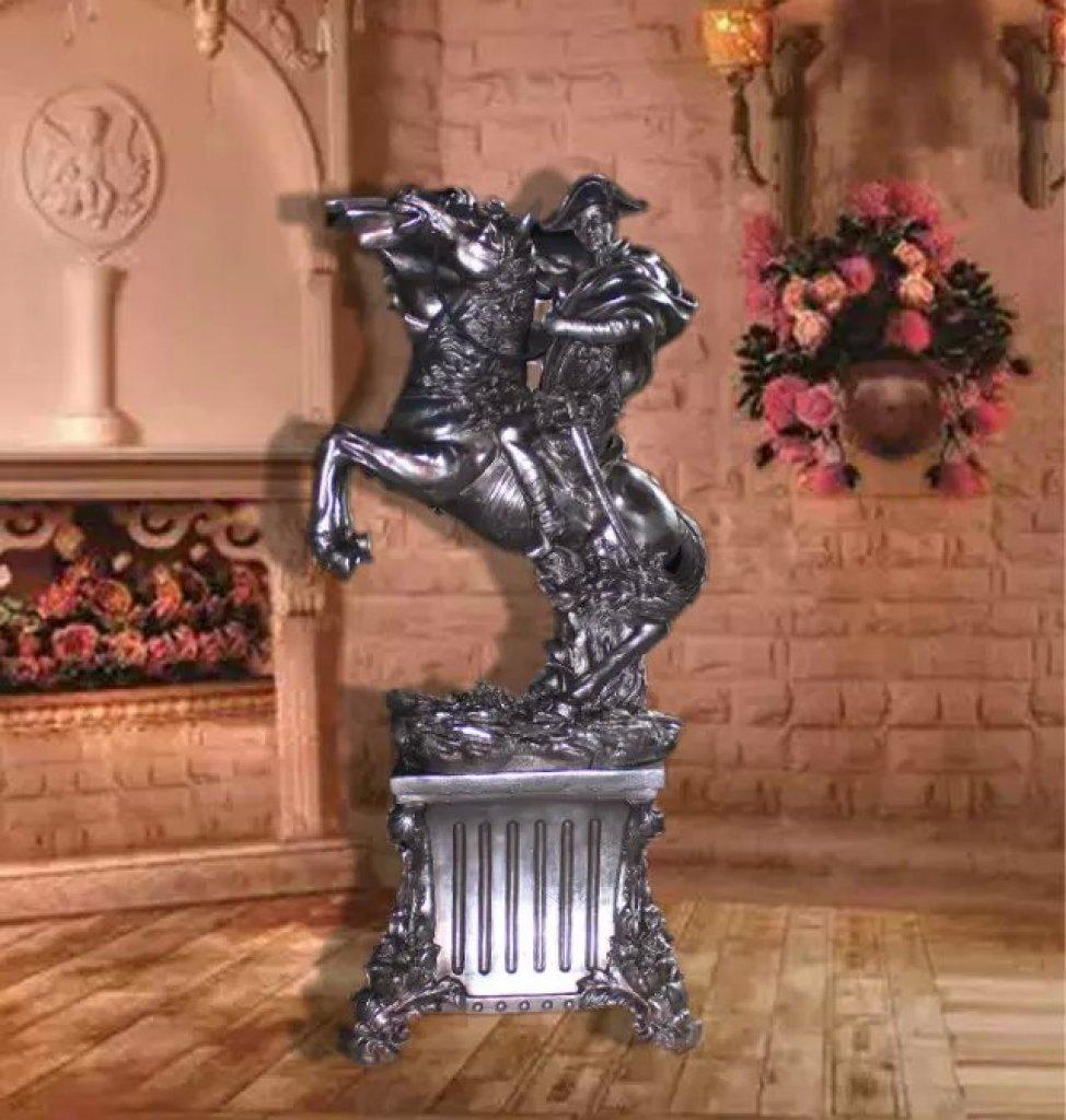 欧式树脂工艺品 大型拿破仑电镀银色摆件图片