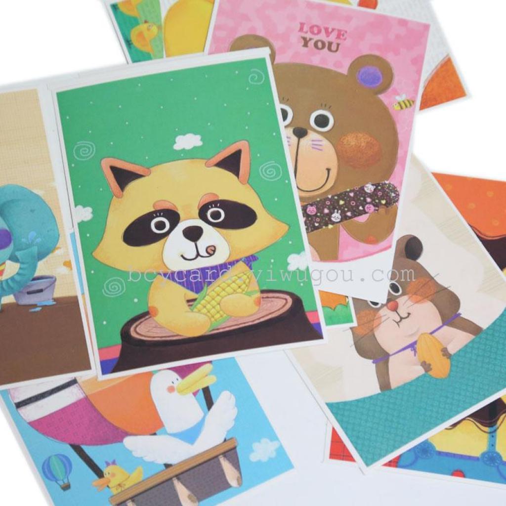 可爱动物风情卡通 明信片
