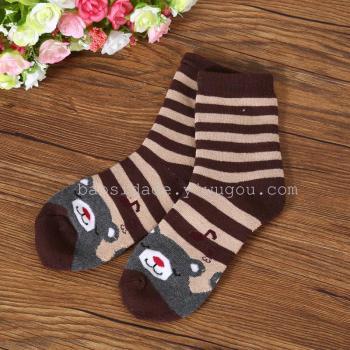 Cartoon bear terry socks children's winter thickened warm socks students' cotton socks