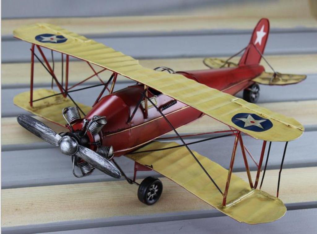 飞机模型复古双翼飞机模型