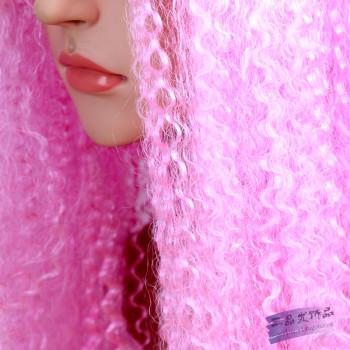 假发女原宿风气质长卷发粉红色假发整顶假发