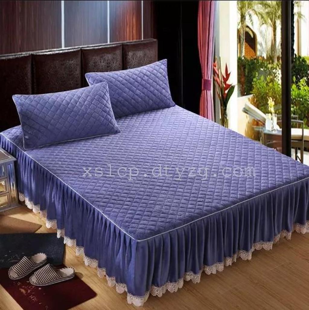 新品 加厚夹棉水晶绒蕾丝床裙顶级意大利绒床套纯色公主床围床罩