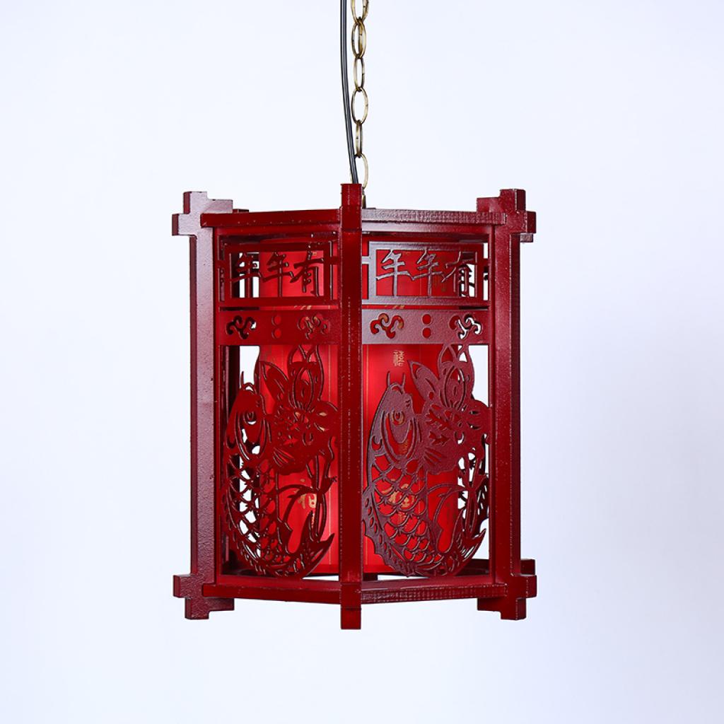 纯手工制作双鱼立体木制宫灯大红喜庆雕刻古典中式宫灯