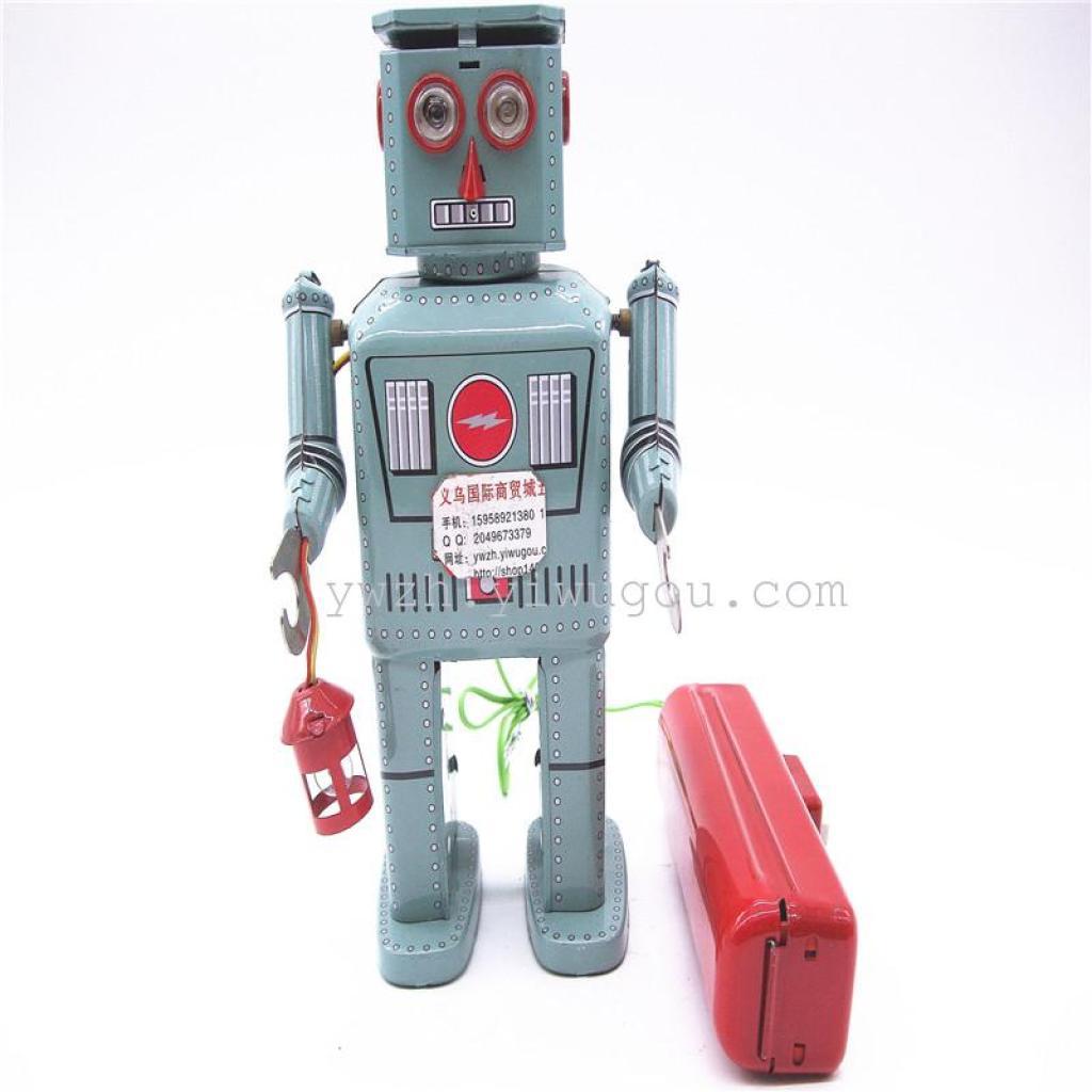 铁皮玩具喷粉机器人怀旧复古铁皮玩具收藏品摄影道具