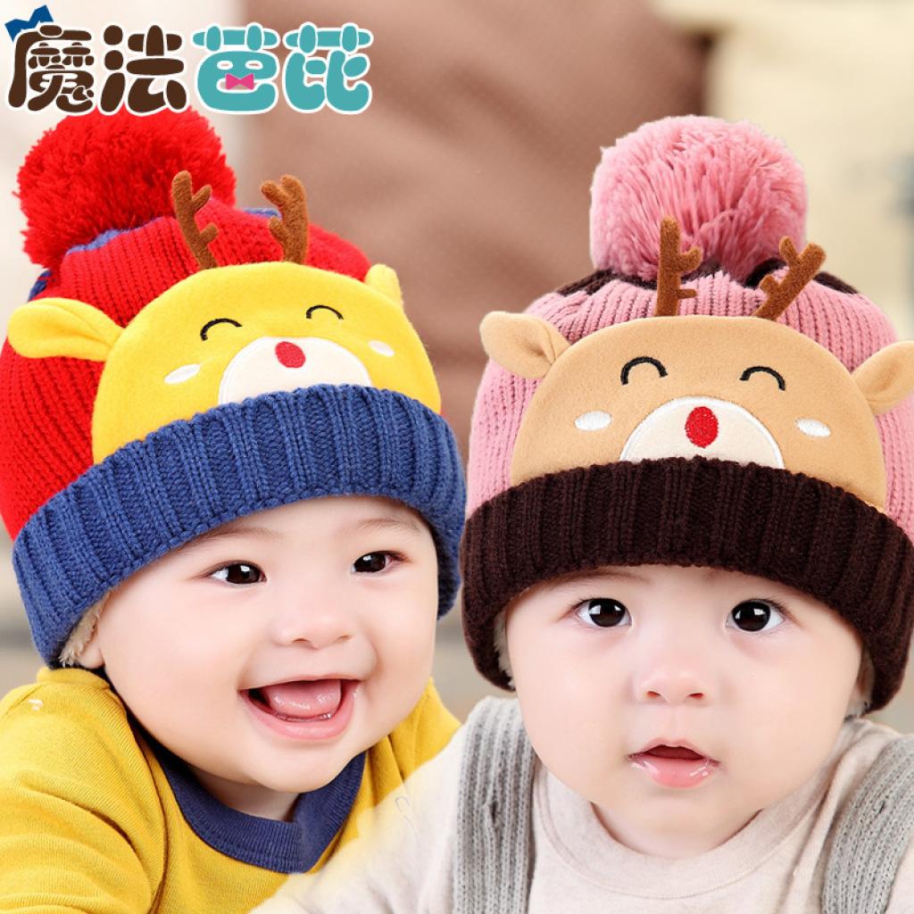 魔法芭芘韩版宝宝冬季新款婴儿帽子毛线小鹿儿童帽新款加绒造型帽