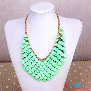 Our fresh sweet mint green short chain necklace clavicle acrylic sweater chain