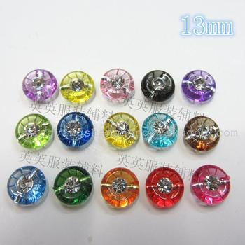 13mm concave transparent diamond large acrylic buttons children 's clothing cardigan clothing accessories