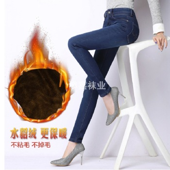 Autumn and winter with the Korean version of the new cashmere jeans pants female thin elastic pencil