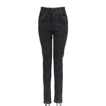 Women's pencil jeans middle-waisted sand-washing pencil pants blue/black skinny long pants