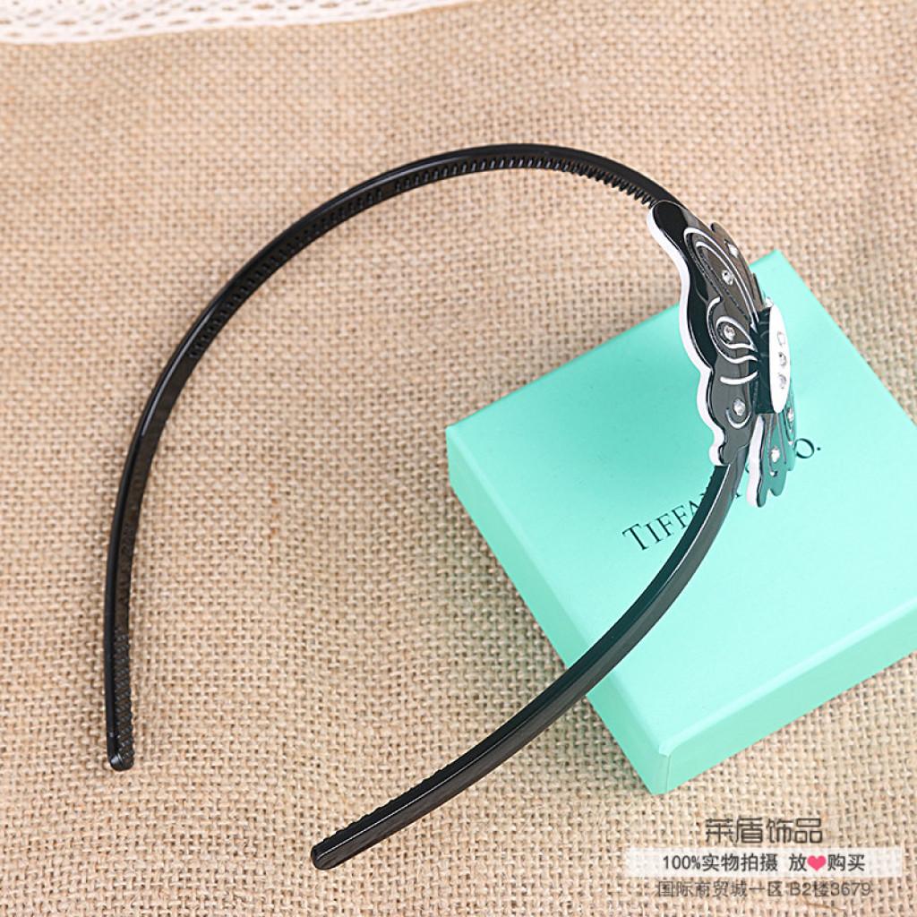 韩版简约黑白色蝴蝶镶钻宽边发箍塑料压发头箍