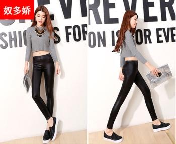 Korean winter wear slim Leather Leggings Pants female thin ladies trousers jeans size nine pencils