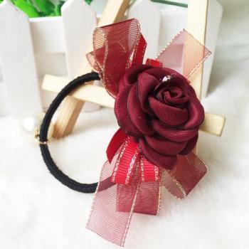 双层蝴蝶结加玫瑰花,高贵,典雅韩版发圈,皮筋