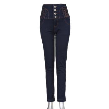 New blue skinny long pants women's pencil jeans high-waisted sand-washing jeans