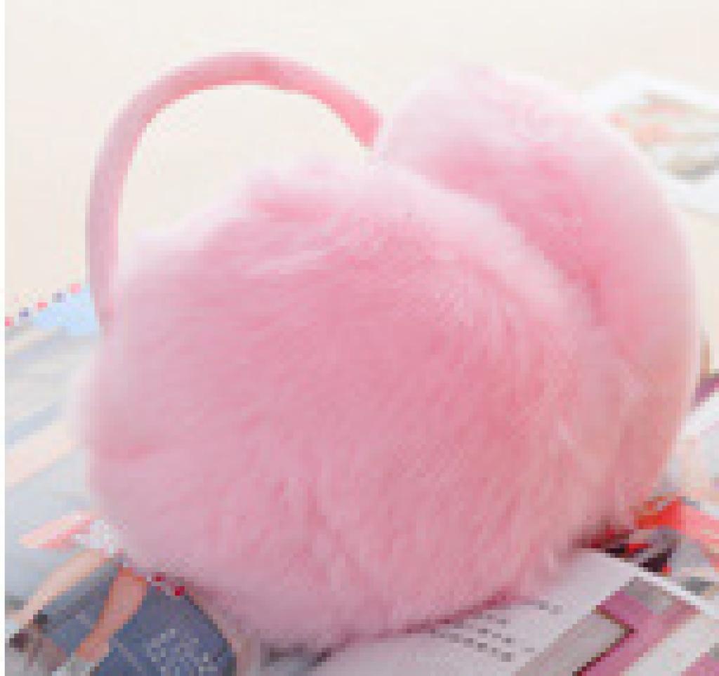 冬季可爱仿兔毛纯色耳套