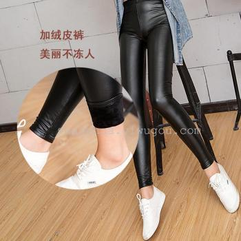 And the wind of autumn and winter thickened super soft sexy slim slim Leather Leggings