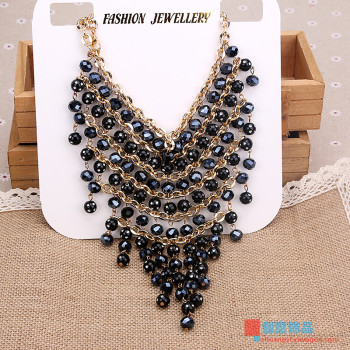 American Jewelry Black Acrylic Beads Necklace Necklace sweater chain female multi exaggerated