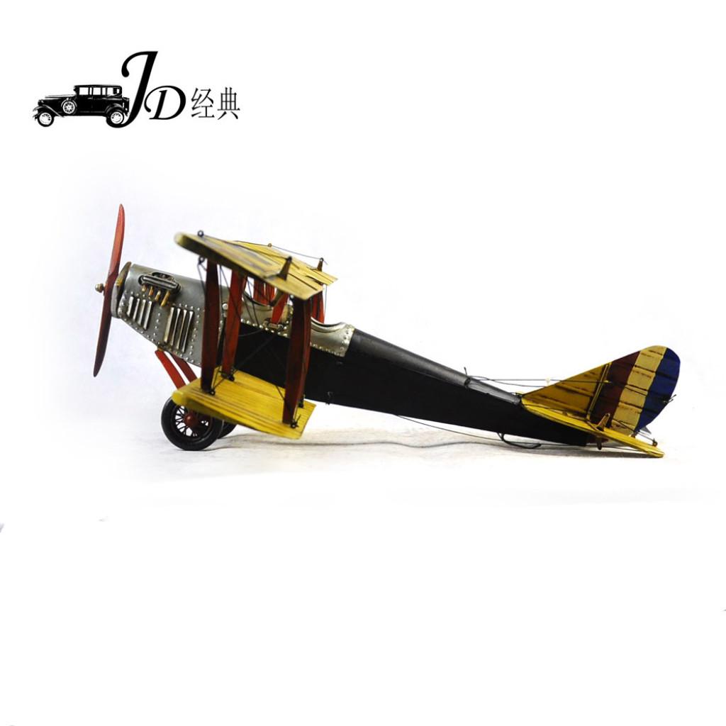 复古铁皮飞机模型 一战黄柯蒂斯珍妮平面飞机