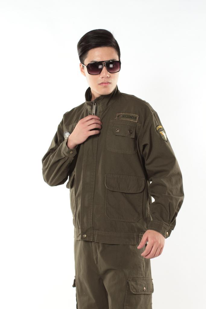 580红一纵队纯棉水洗军绿外军工装电焊服专用