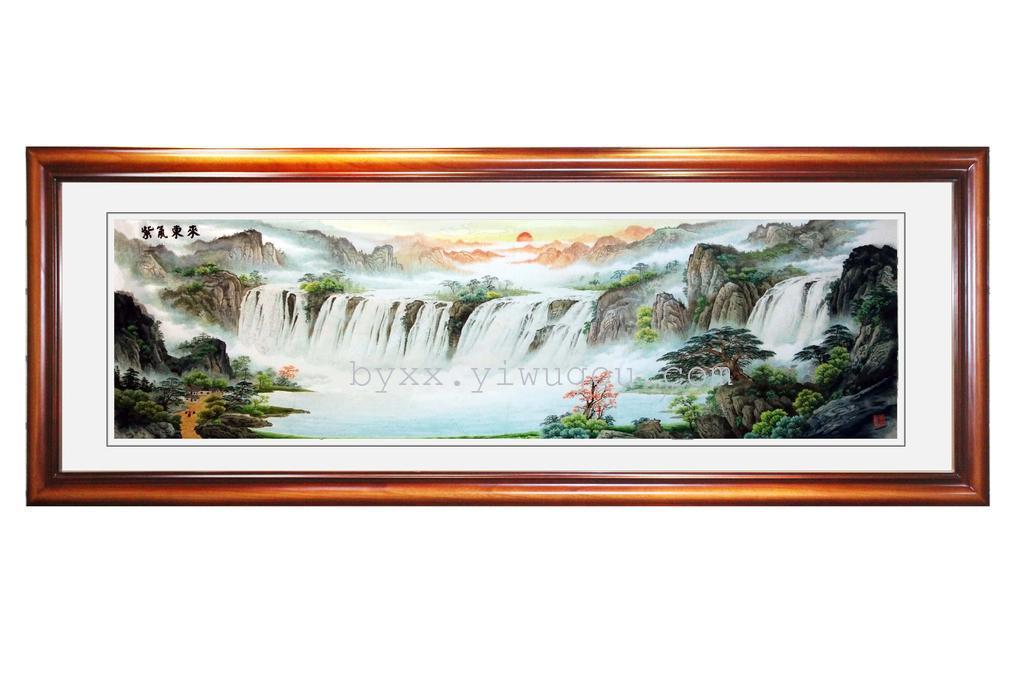 中式框紫气东来手工刺绣博雅湘绣苏绣客厅装饰画