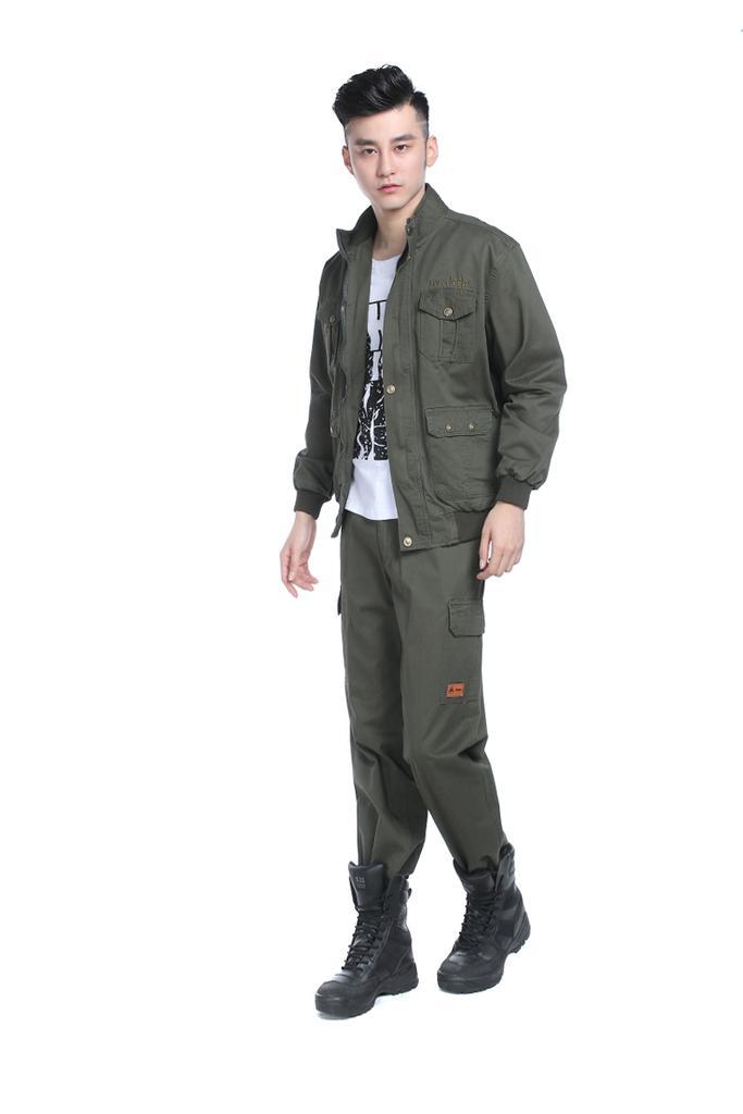1188JEEP双层带里子纯棉水洗军绿外军套装