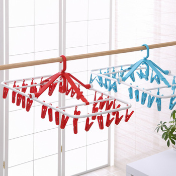 Foldable clothes socks clip plastic windproof clothes hanger underwear socks airer 32 clip
