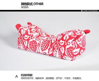 中国民族风布艺老虎枕虎头枕 护颈椎保健苦荞麦枕