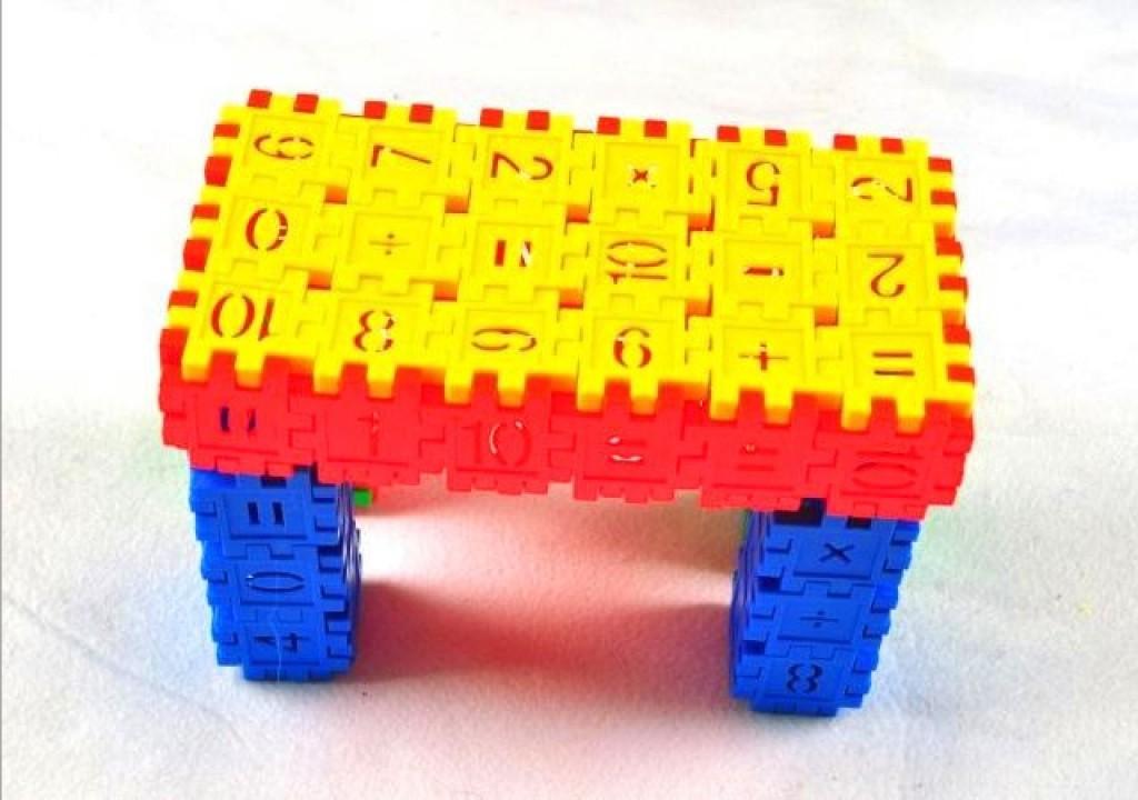 幼儿园益智桌面玩具塑料正方形数字插块积木350克袋装