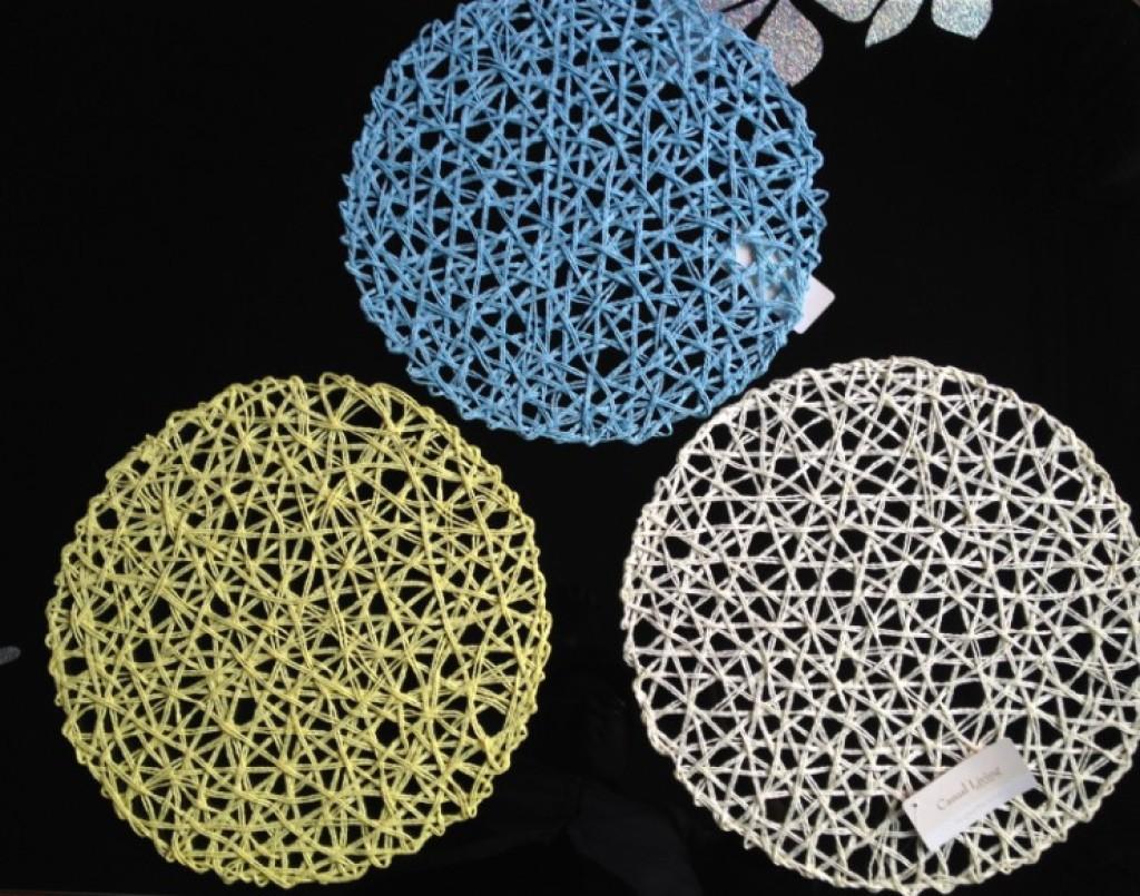 2015新款粗单丝圆形网状环保纸质手工编织 工艺品餐垫