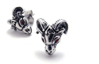 Sheep stud (red eyes) titanium steel diamond earrings ear clip earrings men die casting stainless steel