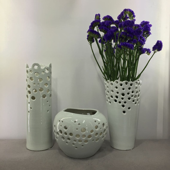 A set of three vases of Jingdezhen ceramics Home Furnishing modern minimalist living room decor decoration