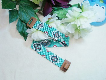 米珠腰带手工串珠腰带编织腰带米珠松紧腰带
