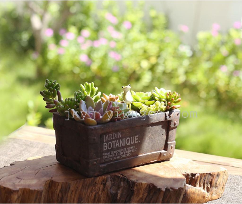 欧式铆钉复古做旧仿铁锈水泥粗陶瓷小多肉花盆景植物