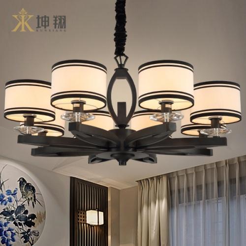 坤翔新中式鐵藝吊燈客廳餐廳燈具_ 歐普照明_ 瀘州城
