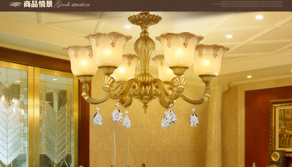 胜腾欧式铁艺水晶吊灯客厅餐厅灯具_欧普照明_泸州城