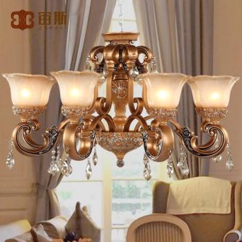 宙斯欧式复古树脂吊灯古典奢华水晶客厅餐厅灯_欧普