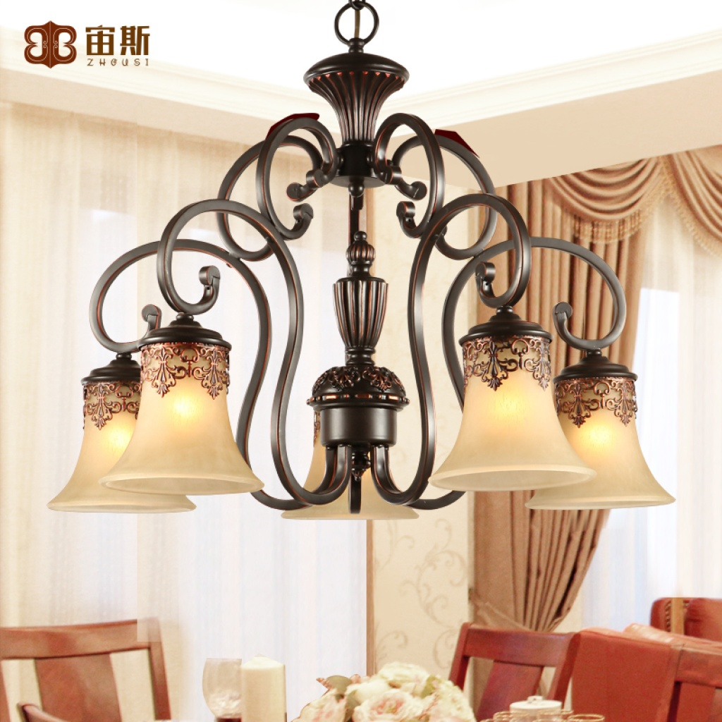 宙斯欧式吊灯田园卧室美式黑色铁艺餐厅灯_欧普照明