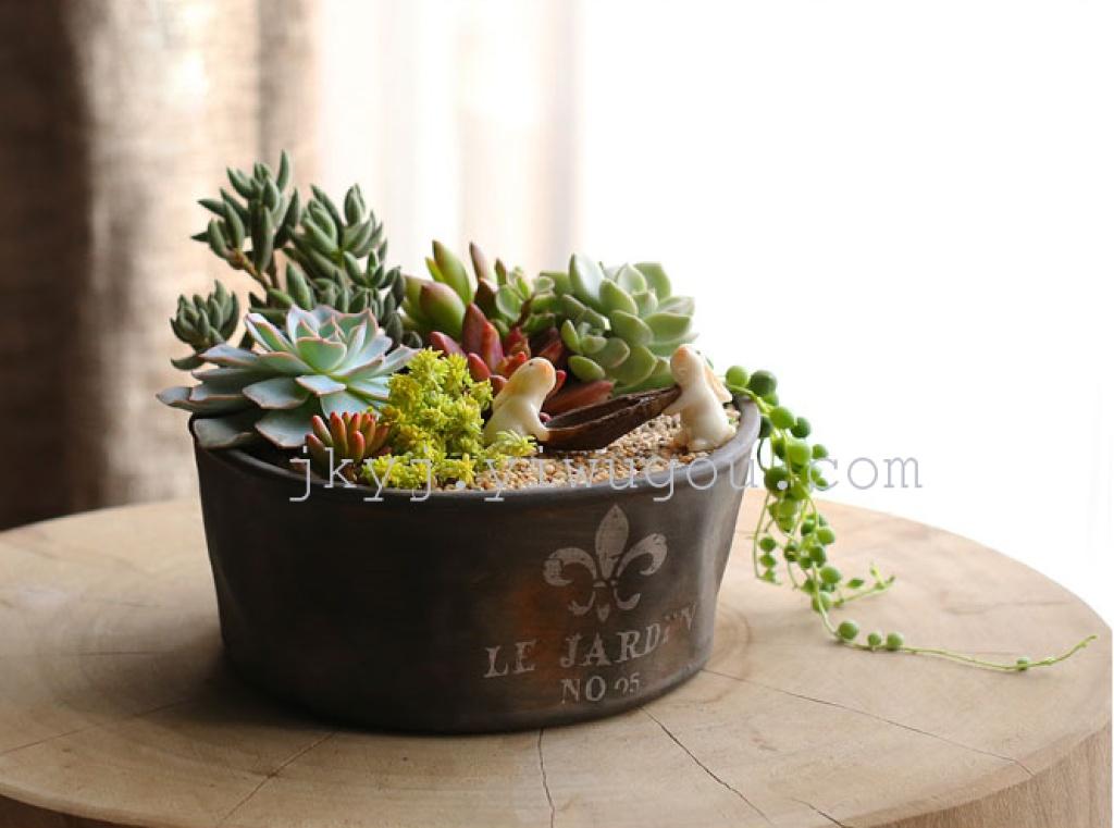欧式做旧仿铁器复古粗陶瓷小多肉花盆植物盆栽微景观