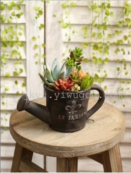 欧式做旧仿铁器复古粗陶瓷小多肉花盆植物盆栽微景观拼盆组合大号